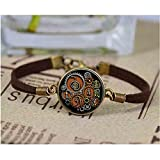 Reiki Symbols in Steampunk Design Bracelet Glass Cabochon Leather Chain New Fashion Christmas Gift for Mens