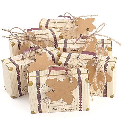 VGOODALL Scatola per caramelle, 60 mini valigette per bomboniere con ciondolo a forma di aereo, in carta kraft, per matrimoni, feste di compleanno