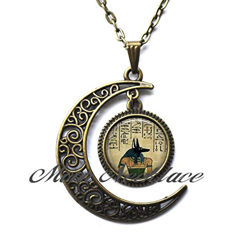 Moon Necklace, Crescent Moon Necklace, Simple Necklace,Anubis Pendant, Anubis Necklace,Egyptian Jewelry, Anubis Jewelry, Goth Jewelry
