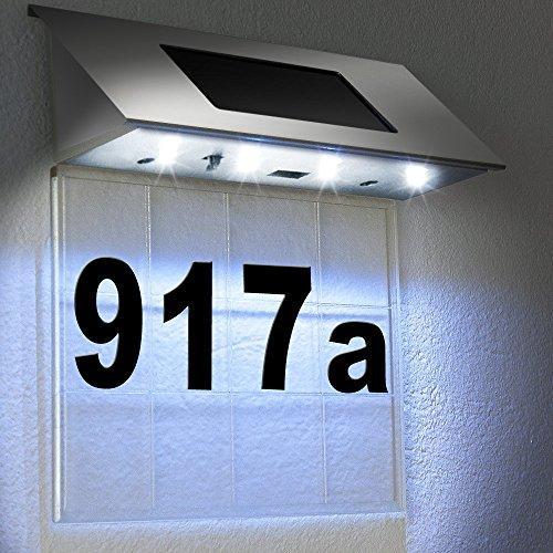 Solarhausnummer Edelstahl mit 4 starken LEDs - Solarleuchte Solar Außenwandleuchte Hausnummernleuchte Transparent - Farbauswahl