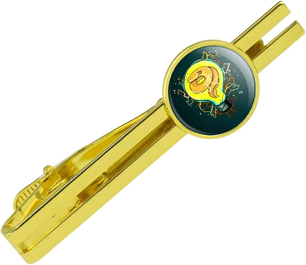 GRAPHICS & MORE Electric EEL in Light Bulb with Electricity Round Tie Bar Clip Clasp Tack Gold Color Plated