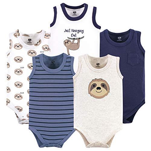 Hudson Baby Unisex Baby Cotton Sleeveless Bodysuits, Sloth, 18-24 Months