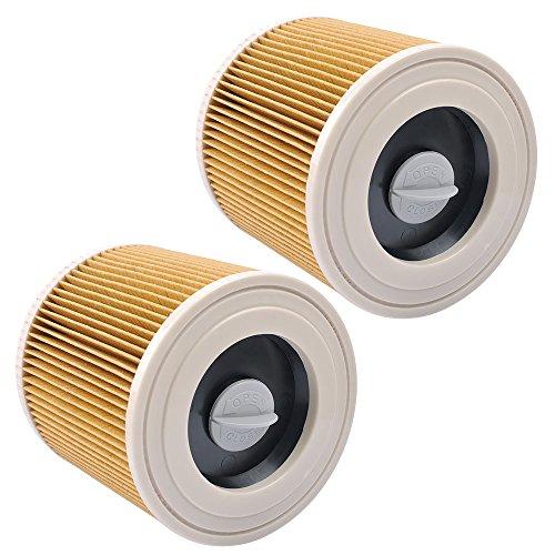 KEEPOW Filtros de Cartucho Lavables y Reutilizables para Aspiradora Kärcher WD2 / WD3 / MV2 / MV3 / WD 2.200 / WD 2.500 M/WD 3.200 / WD 3.300 M/WD 3.500 P/SE 4001 / SE 4002, 2 Pack