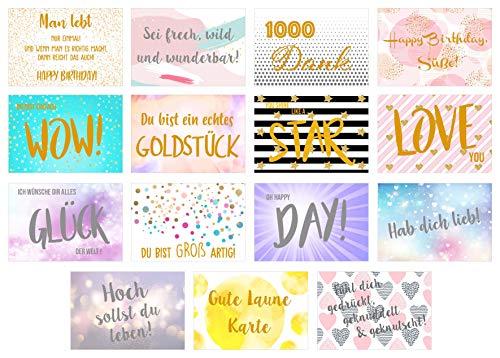 Edition Seidel Set 15 Premium Postkarten mit Gold- oder Siberprägung - Karten mit Sprüchen Spruch - Geschenkidee - Dekoidee - Liebe Freundschaft Leben Motivation lustig Geburtstagskarten