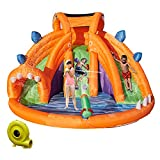 Kinbor Inflatable Bounce Water Slide Bouncy Castle House with Climbing Wall Pool and Water Cannon for 3-10 Years Old Kids Outdoor Park Including Blower