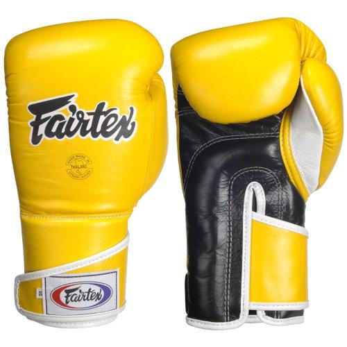 Guantes de boxeo Fairtex binarytech angulosos, amarillo/negro, 12-onza