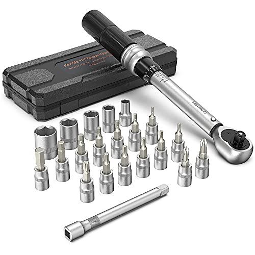 Handife Drehmomentschlüssel Fahrrad 1/4 Zoll, 5-25 Nm Drehmoment ±4{b27d8eda2530b47755cf62f36d2a74521fca16cb12f33a5d0a8aa40f0fa9910e} Hohe Präzision Doppelte Skala mit 21 Ratschenschlüssel Nuss, Drehmoment Reparatur Tool