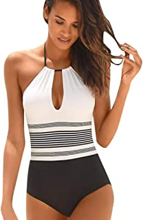 Women One Piece Halter Neck V-Neckline Cut Out Monokini Striped Swimsuit Bathing Suit