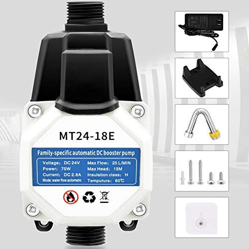 Bomba de circulación automática de agua fría y caliente de 24 V y 75 W, con interruptor de flujo de agua de latón, 25 l/min, silenciosa bomba de agua para grifo, ducha, amplificadores de pulmo