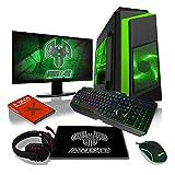 Foto ADMI Bundle PC per Gaming: potente computer desktop, il monitor 1080p da 21,5 pollici, tastiera e mouse (SPEC PC: AMD A6-6400K 4.1GHz dual-core Radeon HD 8470D grafica, USB 3.0, alimentazione 500 W 1 TB hard disk, RAM di 8 GB, unità 24 x DVD-RW, Wifi, caso PC Goblin con LED verde, Senza Sistema Operativa) Bundle PC per Gaming