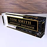 "Artblox Office Desk Name Plate Personalized | Black & White Marble Design Printed On Clear Acrylic Glass | Custom Name Plates for Desks | Office Desk Decor - (8"" x 2.5"")"