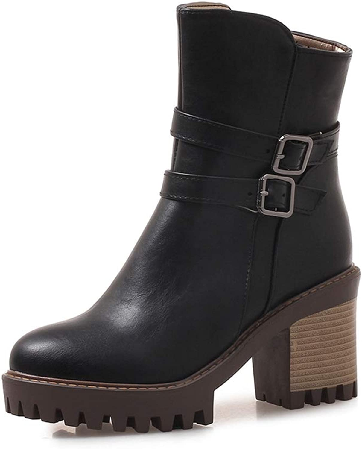 T-JULY New Solid Wide High Heels Zip Belt Buckle shoes for Women Casual Winter Mid Calf Boots Large Size 33-43