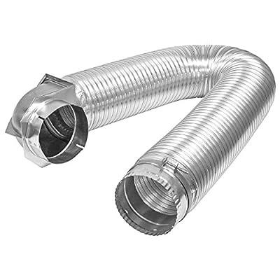 "Builder's Best 011718 All Metal SAF-T Single Elbow Dryer Vent Duct Kit, UL Listed, 4"" Diameter x 8' Length, Aluminum"