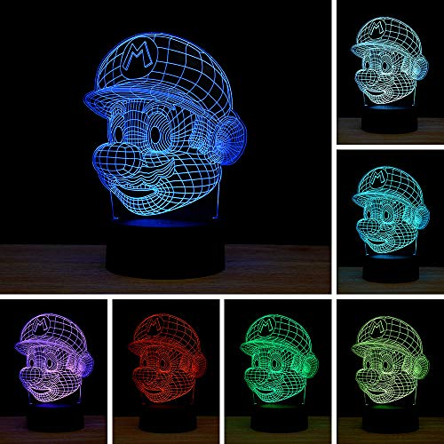 3D Illusion LED Night Light,7 Colors Gradual Changing Touch Switch USB Table Lamp for Holiday Gifts or Home Decorations (Mario)