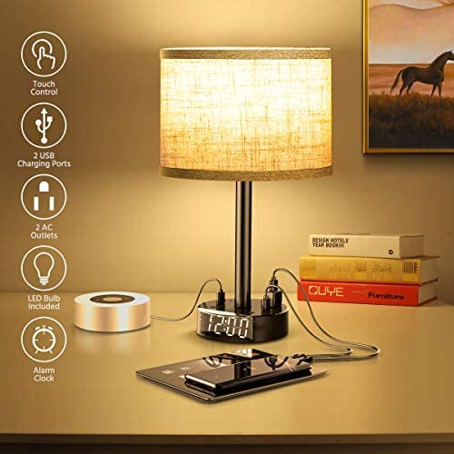 Table Lamp With Alarm Clock Touch Control Desk Lamp with 2 USB Ports 2 AC Outlets Alarm Clock product image