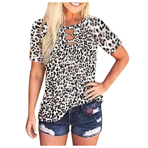 Xniral Damen Leopardenmuster Tops Kurzarm T-Shirt mit Rundhalsausschnitt Basic Casual Shirt(Weiß,L)