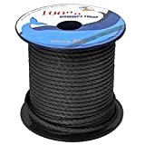 """emma kites 100% UHMWPE Braided Cord Heavy Duty Abrasion Resist. Low Stretch Utility Cord for Kites Surfing Whoopie Rigging Spearfishing Kayak Survival Repair, Black 5/64""""(Dia.) 900Lb 50Ft Spool"""