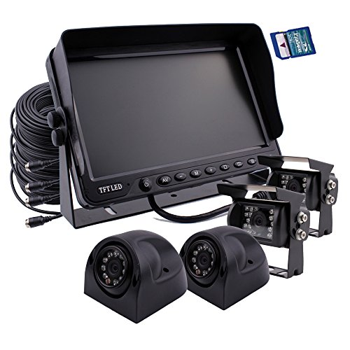 Camnex Car Backup Camera System 7 inch Monitor Build-in DVR Recorder with Quad Split Screen Rear View Camera System Kit 4 x Camera for Truck Van Caravan Trailers Camper Bus RV