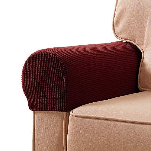 YuamMei Funda antideslizante para el estiramiento del apoyabrazos de spandex, sofá reposabrazos protector para sillón reclinable Sofá, juego de 2 (Vino rojo)