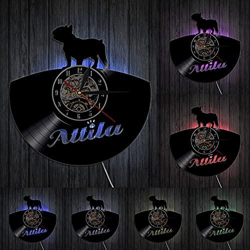Orologio da parete con dischi in vinile LED Bulldog francese Orologio Pet Animal Bulldog Wall Art Animal Decor Decorazione domestica Regalo per amante degli animali domestici