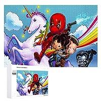 木製パズル1000ピースユニコーン漫画 ジグソー子供のための大人のパズルゲーム家の装飾商品のサイズ(75cmX50cm)