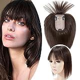 10'(25cm) SEGO Protesis Capilares Mujer Pelo Natural con Flequillo [7 * 13cm Base de Seda] #2 Castaño Oscuro Extensiones de Clip Cabello Humano Remy Human Hair Toppers (33g)