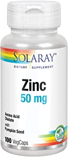 Solaray Zinc 50 mg Amino Acid Chelate | Bioavailable Chelated Complex for Immune System & Cellular Health Support | with P...
