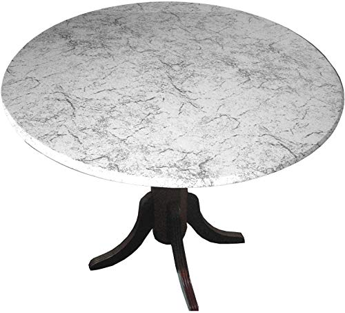 Table Cloth Round 36' to 48' Elastic Edge Fitted Vinyl Table Cover Classic Marble Grey