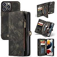 Caseme IPhone 13 Pro Max、Retroと互換性のあるケース PUiPhone 13 Pro Max用のカードスロットとジッパー財布が付いている革多機能の取り外し可能な磁気財布ケースカバー (Color : Black)