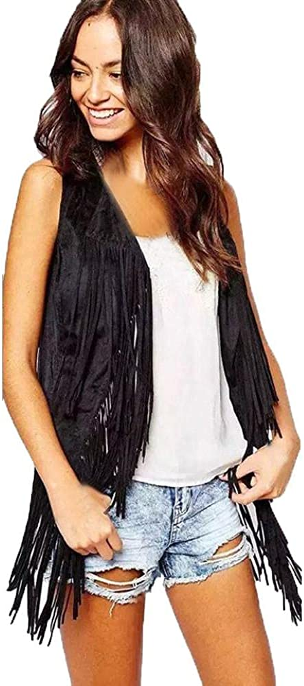 Fringe Vest for Women Faux Suede Tassels 70s Vintage Hippie Clothes Open-Front Sleeveless Ethnic Cardigan