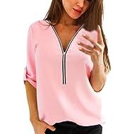 Howstar Women's Half Sleeve T Shirt Casual Summer Blouse with Zipper Work Shirts Plain Tank Top