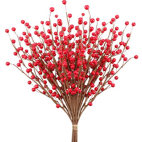 Holly Berries Artificial Red Berry Twig Stem Fake Red Holly Christmas Berry for Festival Holiday Flower Branch and DIY Christmas Tree Home Decor (15 Pieces)