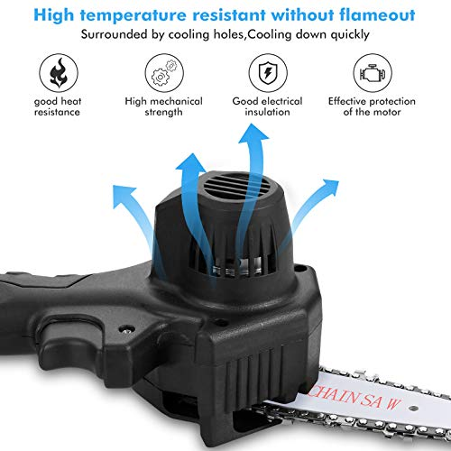 Mini Chainsaw 4-Inch Cordless, Portable Handheld Electric Saw with with 2Pcs Rechargeable Batteries and 2Pcs Chain, Adjustable Pruning Shears Chainsaw for Tree Branch Wood Cutting Tree Pruning