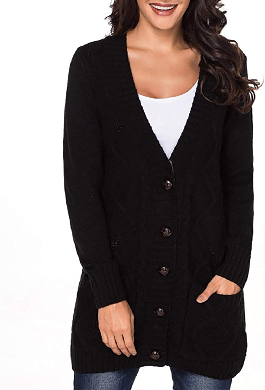 Women's Long Open Pocket Cardigan Ladies Casual Button LongSleeved Twisted Knit Sweater,Black,M