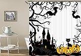dsgrdhrty Halloween orange Kürbis und Burg Fledermaus auf