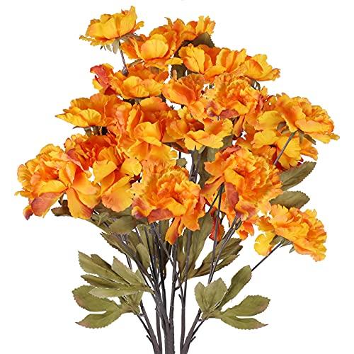 HUAESIN 3pcs Ramo de Flores Artificiales Naranjas para Otoño Decoracion 80cm Peonías...