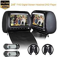 Reproductor de DVD para reposacabezas de coche de 2 x 9 pulgadas, 1080P, cubierta de piel para niños, con cremallera, juego transmisor de FM e IR, sin regiones, Con 2 auriculares IR