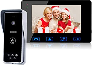 Wired Video Doorbell Phone Intercom System, 7-inch Color Monitor and Push Button Camera Video Doorbell Kits Support Unlock, Monitoring,IR Night Vision Camera for Home Office