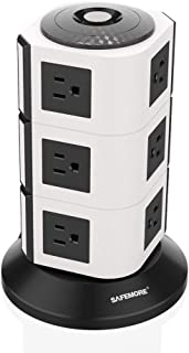 SAFEMORE Power Strip Tower 12 Outlets Surge Protector Electric Charging Station 6.5ft Heavy Duty Extension Cord Multiple Outlet Plug for Smartphones Bluetooth Home Appliances-White+Black