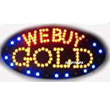 2xhome - We Buy Gold - High Visible Bright Big Chip Led Moving Flashing Animated Sign Colors Neon Business Motion Light Sign On Off Switch Button Chain 19x10 for Jewelry Jeweler Watch Repair Pawn Shop Store Wall Window Display…