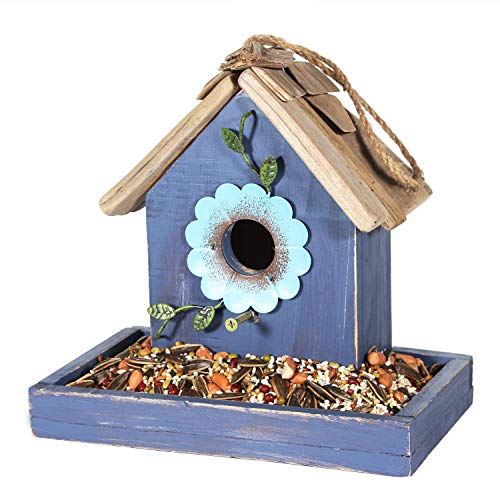 Tenforie Bird Feeder House for Outside Hanging, Wooden Birdhouse Bluebird House Feeder Handcrafted Hut (Blue)