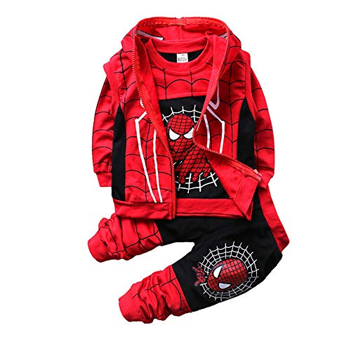 Kleidungsset Spiderman Kinder Sportmantel Langarm Hemd Bluse Oberteil Sweatshirt T-Shirt Hose Jungen Kapuze Tops Outfits Gr. 100 cm , D schwarz.