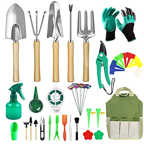 Yorkaan Gartenwerkzeug Set, Edelstahl Gartengeräte mit Tragetasche,45 teiliges Ergonomische Anti-Rutsch-HolzGriff, Garten Geschenk-Set für Männer oder Frauen, Garten Handwerkzeuge für Gartenpflege