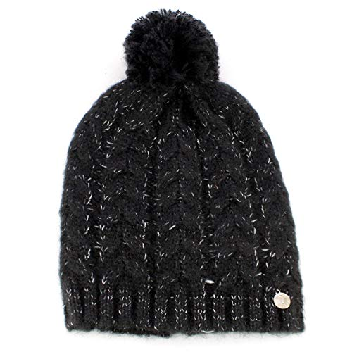 Guess Wool Beanie with Braid Pattern Black L