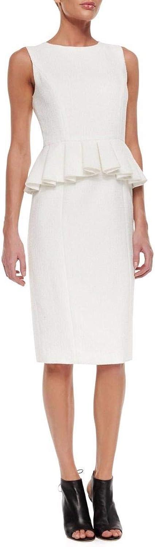 BADGLEY MISCHKA White Sleeveless Kneelength Peplum Sheath Dress