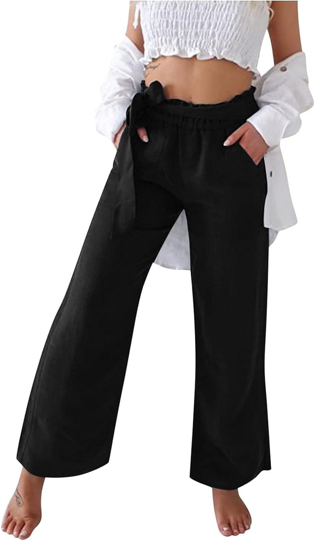 USYFAKGH Women's Pants Lounge Palazzo Pants Casual Solid Cotton Blend Linen Belt Pants Pocket Loose Wide Leg Pants