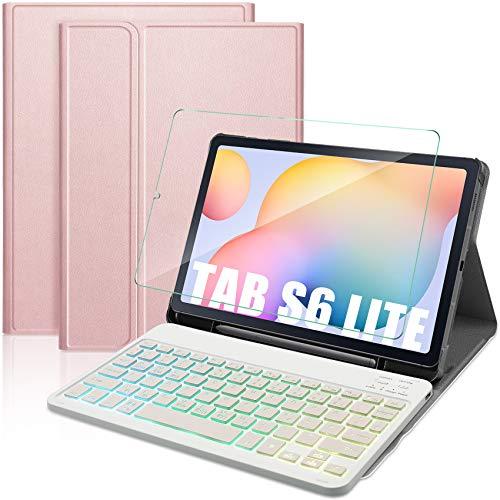 IVSO Tastatur Kompatibel mit Samsung Galaxy Tab S6 Lite mit Panzerglas QWERTZ Deutsches Abnehmbar Beleuchtete Tastatur Hulle Kompatibel mit Samsung Galaxy Tab S6 Lite 104 Zoll Rosegold