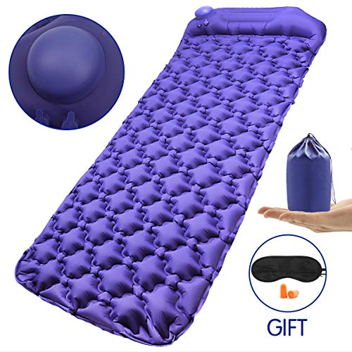 Richenfull Camping Sleeping Mat, Hand Press Inflatable Pad with Pillow, Air Sleeping Mats, Self-Inflating Ultralight Portable Comfortable Waterproof Pads Backpack for Sleeping Bags and Hammocks, Trave