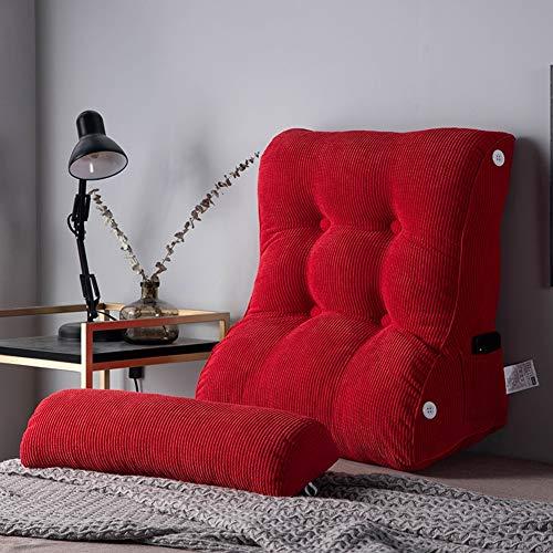 TENCMG Lesekissen - Tatami Bett Rückenlehne Taille Bett Kissen - PP Baumwolle gefüllt abnehmbar und waschbar,Red,55x60cm