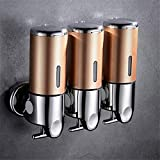 Cuutiik Shower Dispensers 3 Chamber Wall Mount Damage Free Adhesive Soap Dispenser for Bathroom Hotel Home (Gold)